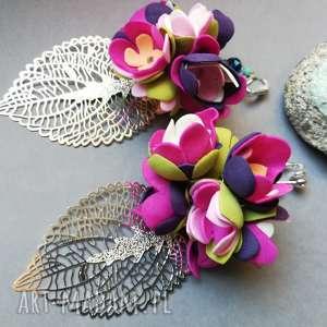 klipsy długie boho wiszące kwiatowe bardzo lekkie handmade, kwiatowe, lekkie, liście