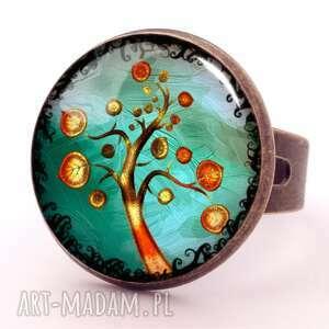 złociste drzewo - pierścionek regulowany - miłość