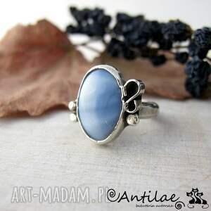 Meanders II - Opal niebieski, srebro, pierścionek, opal, srebro