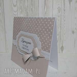 hand made scrapbooking kartki zaproszenie / kartka minimalizm z kokardą