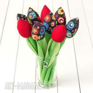 tulipany kolorowy bawełniany bukiet, łowicki na czarnym tle, bawełniane