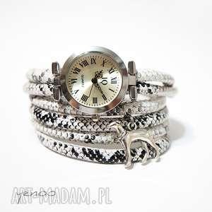 Prezent Zegarek, bransoletka - Czarno-biały, wężowy Chart, pies, zegarek