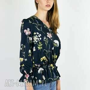 ręcznie robione bluzki granatowa bluzka w polne kwiaty