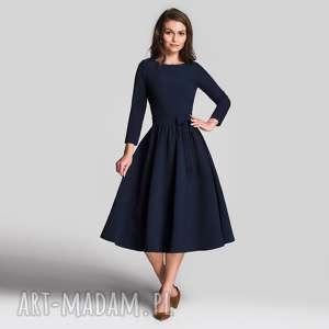 sukienka marie 3/4 midi granat, midi, sukienka, granatowa