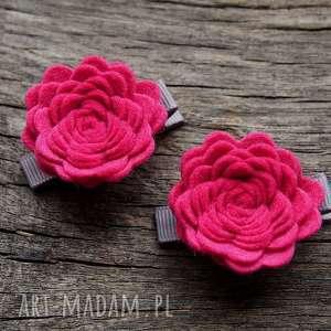 roses spinki do włosów light raspberry, filc, spinki, róże, kwiaty, dowłosów