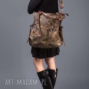 ręcznie wykonane na ramię amber - duża torba - shopper - moro