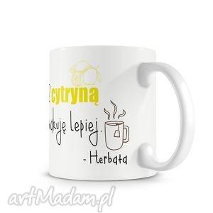 ręcznie wykonane kubki kubek - herbata z cytryną