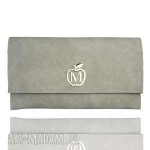kopertówki kopertówka koperta manzana zamszowa szara, kopertówka, elegancka, modna