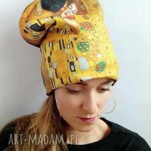 czapka klimt pocałunek, malarstwo, obraz nadruk, czapka kolorowa