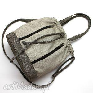 hand-made na ramię worek sakiewka - plecionka beż i brąz