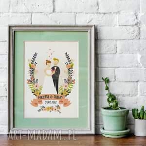 obraz pary młodej - portret ilustracja 30x40 cm, portret, ślub