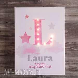 Świecąca metryczka z literą i imieniem dla dziewczynki