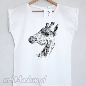 koszulki żyrafa koszulka oversize biała m l, koszulka, bluzka, oversize, nadruk