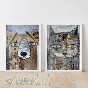 plakaty zestaw plakatów 50x70 cm - pies i kot