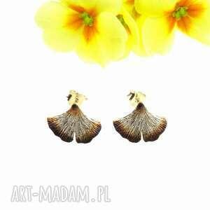 kolczyki srebrne - mini miłorzęby brązowe na sztyftach, kolczyki, liście