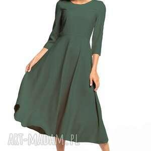 elegancka sukienka maxi z zamkiem krytym, t327, khaki, elegancka, sukienka, góra