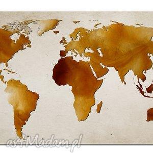 obraz mapa świata -dms8 - 120x70cm na płótnie brązowo beżowa, obraz