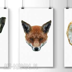 Trzy plakaty A3, plakat, grafika, lowpoly, dom, zestaw, wnętrze