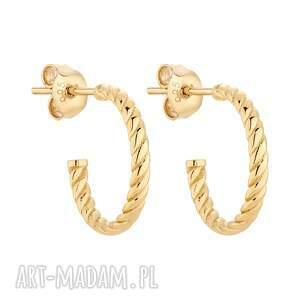 złote plecione kolczyki sotho - złote kolczyki, półkola