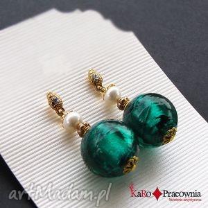 kolczyki szmaragdowe złoto na święta, szmaragdowe, perły, cyrkonie, barok