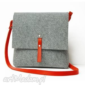 na laptopa krakowska / torebka z czerwonym paskiem, torebka, filcowa, skóra torebki