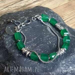 bransoletka ze srebra i zielonych onyksów, srebrna