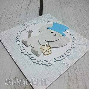 ręcznie robione scrapbooking kartki zaproszenie / kartka elegancki słonik w błekicie