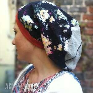 czapki czapka damska w kwiaty na podszewce, długa smerfetka, rozmiar