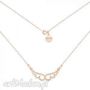 naszyjniki naszyjnik z różowego złota ze skrzydełkami, modny, naszyjnik, zawieszka