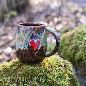ręcznie wykonane ceramika handmade kubek kamionkowy   leśne serce męski 400