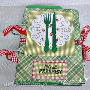 handmade scrapbooking notesy zielone sztućce