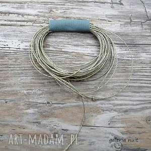 Eko wheel - lniana broszka szara, len, koło, tkanina, lekki, design,