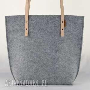 hand-made na ramię szara pojemna filcowa torba ze skórzanymi rączkami