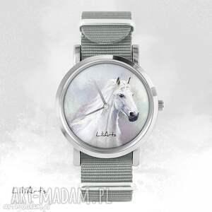 liliarts zegarek, bransoletka - biały koń szary, nato, bransoletka, nato