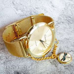Prezent ZŁOTY ZEGAREK Z ZAWIESZKĄ WAŻKĄ, modny-zegarek, na-rękę, na-prezent