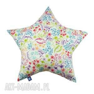 ręczne wykonanie pokoik dziecka poduszka gwiazda, wzór rajski ogród