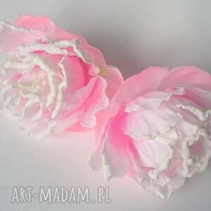 kolczyki gardenie jaśminowe na ucho gotowe, lekkie, gardenia, ślub, kwiaty, boho