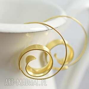 kolczyki 925 pozłacane spiralne brunei, orient, spirale, kolczyki, koła