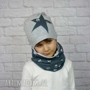 cienka czapka i komin bukiet pasji - bawełna, chłopak, wiosenna