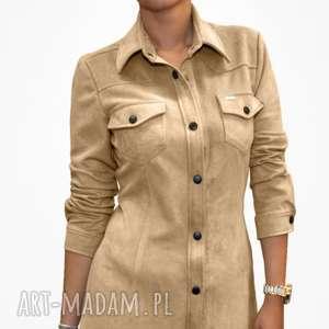 bien fashion beżowa sukienka szmizjerka eko zamsz m, ekozamsz, szmizjerka, mini