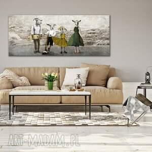 obraz drukowany na płótnie - kozy w ubraniach 150x60cm