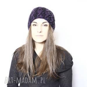 ręcznie wykonane czapki czapka damska fioletowa we wzory dzianina wełniana na podszewce