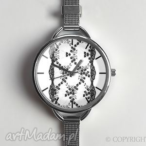 egginegg koronka - zegarek z dużą tarczką 0873ws - elegancki
