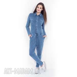 spodnie niebieski kombinezon damski denim, jeans, sportowy, bawełniany