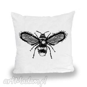 poszewka pszczoŁa - malinowe cacko - poszewka, poduszka, poducha, pszczoła