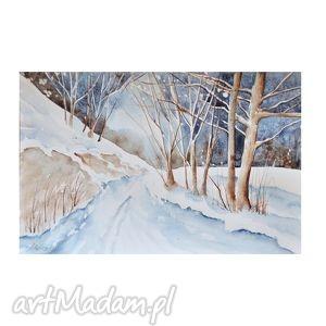 obrazy zimowy pejzaż 4, akwarela, pejzaż, zimowy, droga, las dom