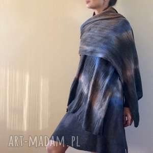 Ręcznie barwiony szal z jagnięcej wełny, dzianina, zimowy, unikat, szalik,