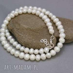 naszyjnik perły naturalne, naszyjnik, perły, sznur, srebrne, wykończenie