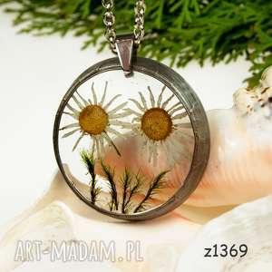 Prezent Naszyjnik z suszonymi kwiatami, Herbarium Jewelry, kwiaty w żywicy z1369
