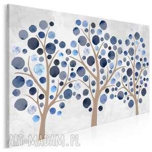 Obraz na płótnie - drzewo kropki niebieski błękitny 120x80 cm